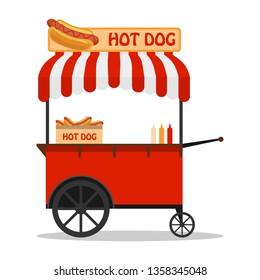 Hot dog, street cart. Fast food hot dog cart and street hot dog cart. Hot dog cart street food market, stand vendor service.