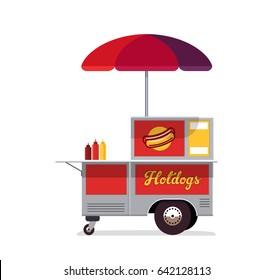 Hot dog street cart. Fast food stand vendor service. Kiosk seller business. Flat style. Vector illustration.