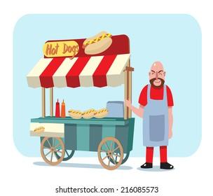 hot dog street cart with sale man