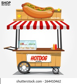 hot dog street cart.vector
