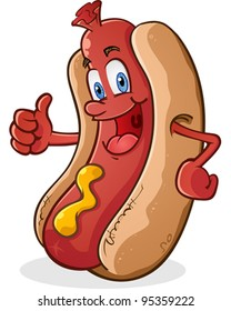 Hot Dog Thumbs Up Cartoon Character