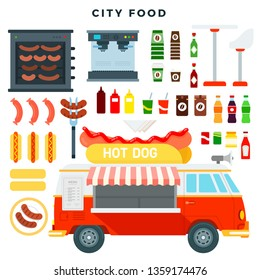 Hot dog truck. Fast food mini van and set of various street food and drink. Street food car, mobile kitchen, restaurant, cafe. Hot dogs, sauces, coffee, cola. Vector illustration in flat style.
