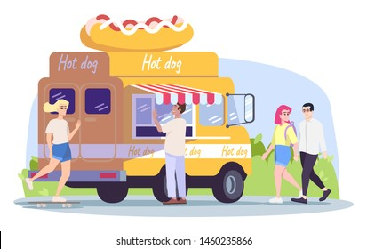 Hot dog truck flat vector illustration. Summer outdoor rest in town. City picnic. Street food vehicle, buyer, walking couple, girl on skateboard isolated cartoon characters on white background