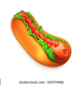 Hot dog, vector icon
