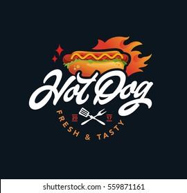 hot dog vector logo, fast food, lettering