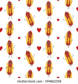 Hot dog, vector seamless pattern with cute fast food characters isolated on white with hearts