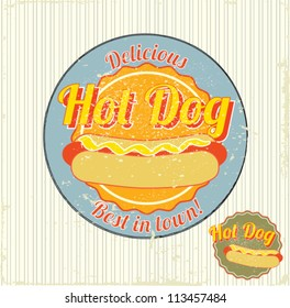 hot dog vintage sign vector illustration
