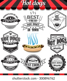 """Hot dogs collection of vector signs, symbols and icons. Set of design elements, badges stickers and labels food set.See more in set """"Labels"""" of my portfolio"""
