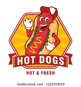 Hot Dogs Logo Design, With Funny Characters