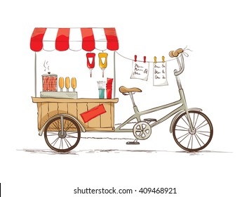 Hot dogs on bicycle/ Vector illustration on the theme of street food.