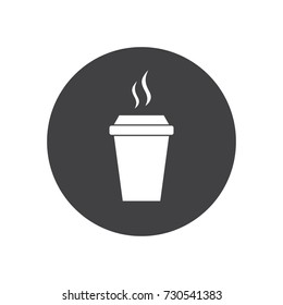 Hot drink icon in black and white design placed in a circle. Isolated illustration of a hot drink paper cup with steam.