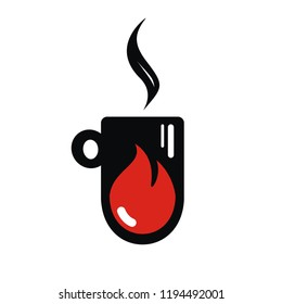 Hot drink icon. Blazing cup. Energy drink. Hot drop. Coffee or tea cup. Mulled wine. Autumn and winter drink icon. Fire in the cup. Flat design. Vector illustration.
