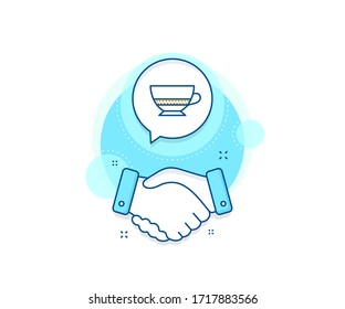 Hot drink sign. Handshake deal complex icon. Bombon coffee icon. Beverage symbol. Agreement shaking hands banner. Bombon coffee sign. Vector