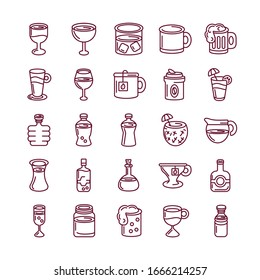 hot drinks and beverages icon set over white background, line style, vector illustration