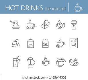 Hot drinks line icon set. Mug, paper cup, tea bag, pot, coffee. Drink concept. Can be used for topics like coffee shop, cafe menu, healthy lifestyle
