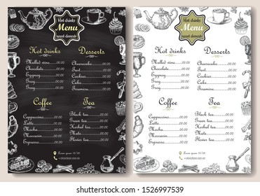 Hot drinks and sweet desserts menu vector template. Chalk drawing A4 paper format menu for coffee shop, cafe and restaurant, handdrawn design with lettering.