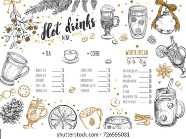Hot drinks Winter Menu. Design template includes different hand drawn illustrations and Brushpen Lettering. Beverages, drinks and christmas elements. Mulled wine, Hot chocolate, Latte, Tea, Grog etc.