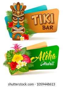 Hot and exotic tropics. Banners set with tiki mask and tropical plants and flowers. Vector illustration. Isolated on white background.