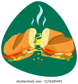 Hot Fajita sandwich with baguette and melted cheese on green background