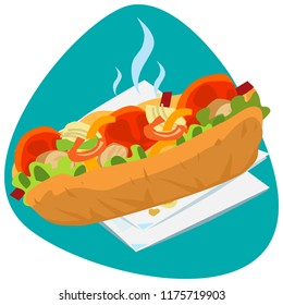 Hot Fajita sandwich with bread rolls, salad, tomatoes, onion, and chicken meat on white napkins and on green background