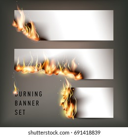 Hot fire banners set with orange flames for your design