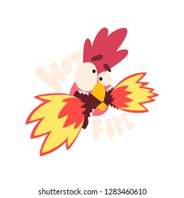 Hot fire chicken, hot crazy rooster, creative logo design element vector Illustration