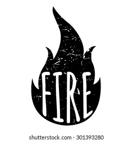 Hot fire. Fire print with text on white background. Vector illustration