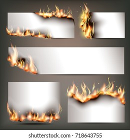 Hot fire strategic advertisement banners set for customers attraction to seasonal discount sales