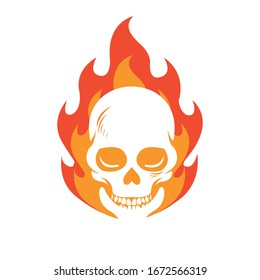 hot flame head skull for tattoo inspiration design vector illustration