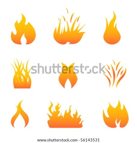 Hot Flames Fire Symbols Stock Vector (Royalty Free) 56143531