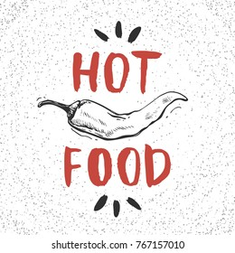 Hot food. Hand drawn pepper for card, menu, banner or other.
