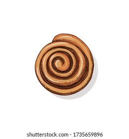 Hot Fresh homemade French bun cinnamon. Hand drawn vector illustration in sketch style. Bakery food