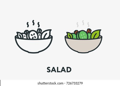 Hot Fresh Vegetable Salad Bowl Plate Vegan Cucumber Minimal Flat Line Outline Colorful and Stroke Icon Pictogram