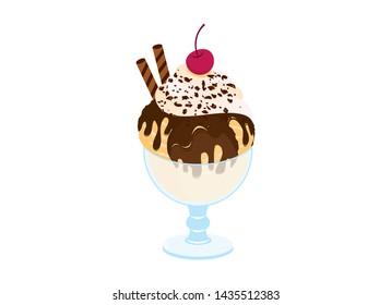 Hot Fudge Sundae vector. Chocolate sundae icon vector. Hot Fudge Sundae isolated on a white background. Ice cream cup vector illustration