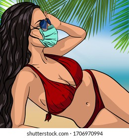 Hot girl on a beach in medical mask. Vector illustration