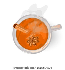 Hot golden drink with clove for breakfast or afternoon. Yellow, oolong tea. Flavoured masala chai with a mixture of aromatic spices and herbs. Vector cartoon illustration isolated on white. Top view.