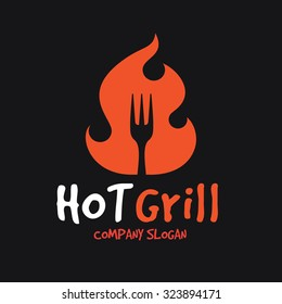Hot grill, BBQ restaurant logo template