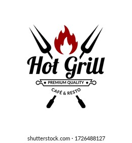 hot grill cafe and resto vintage logo design template