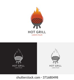 Hot grill logo. Vector logo template. Logotype of barbecue restaurant, bar, party with fire flame.