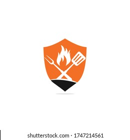 Hot Grill shield shape concept Logo Templates. Grill logo design.