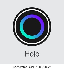 HOT - Holo. The Market Logo or Emblem of Crypto Currency, Market Emblem, ICOs Coins and Tokens Icon.