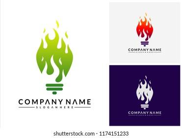 Hot Idea logo designs, Bulb Idea logo symbol, Spirit Inspire logo designs concept