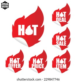 Hot Item, Hot Offer, Hot Deal, Hot Sale, Hot Price Labels With  Red Fire - Vector.