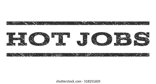 Hot Jobs watermark stamp. Text caption between horizontal parallel lines with grunge design style. Rubber seal stamp with unclean texture. Vector gray color ink imprint on a white background.