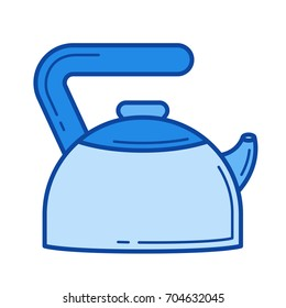 Hot kettle vector line icon isolated on white background. Hot kettle line icon for infographic, website or app. Blue icon designed on a grid system.