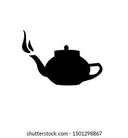 Hot little Teapot  vector silhouette. black icon