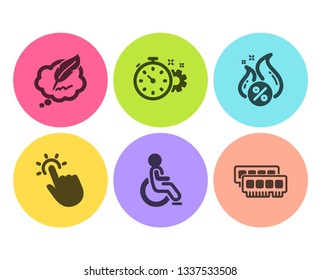Hot loan, Touchpoint and Copyright chat icons simple set. Cogwheel timer, Disabled and Ram signs. Discount offer, Touch technology. Technology set. Flat hot loan icon. Circle button. Vector