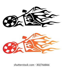 Hot looking flaming cruiser motorcycle logo, clean lines, in black and color fire.