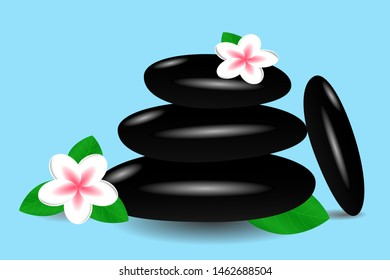 Hot massage stones and tender plumeria flowers on a blue background