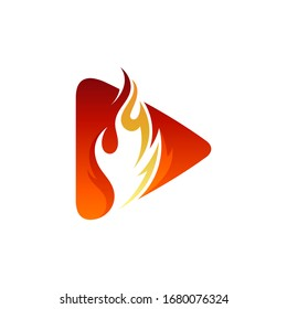 Hot media play logo, Arrow and fire logo concept